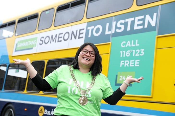 Former Dublin Lord Mayor Hazel Chu marking Talk To Us with Dublin branch and Dublin Bus