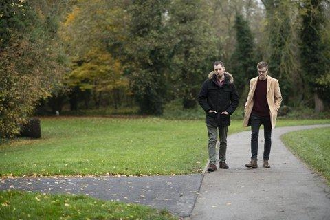 Men-walking-outdoors