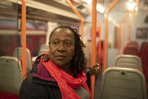 Woman-train-commuting