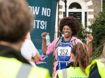 Participant at london marathon fundraising event