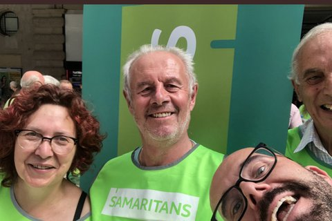 Volunteers from North London Samaritans at Waterloo on 24/7/2019