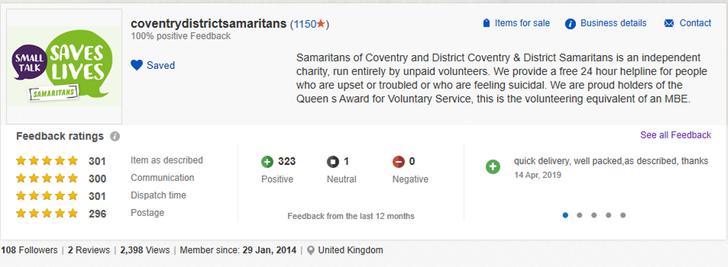 Coventry Samaritans ebay page